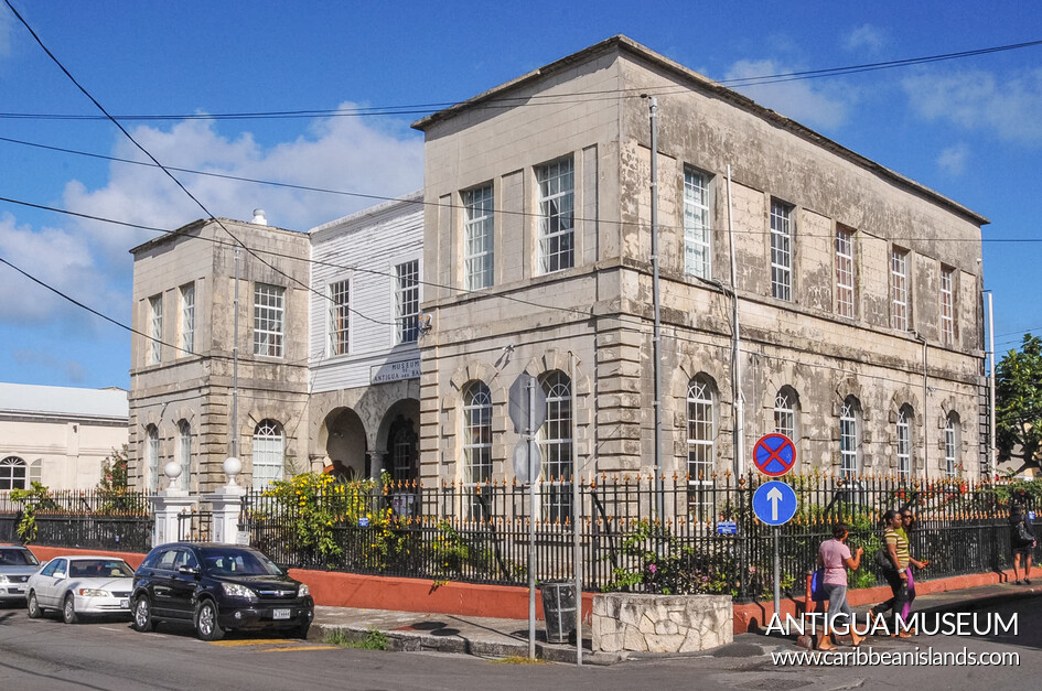 1750 courthouse is the oldest building in St. John's still in use; now serves as Antigua museum