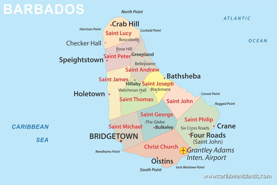 Map of Barbados, Caribbean