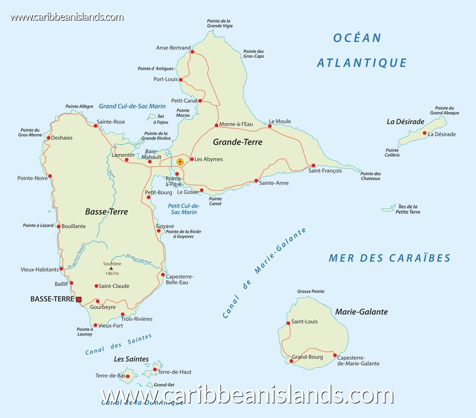 map of Guadeloupe, Caribbean
