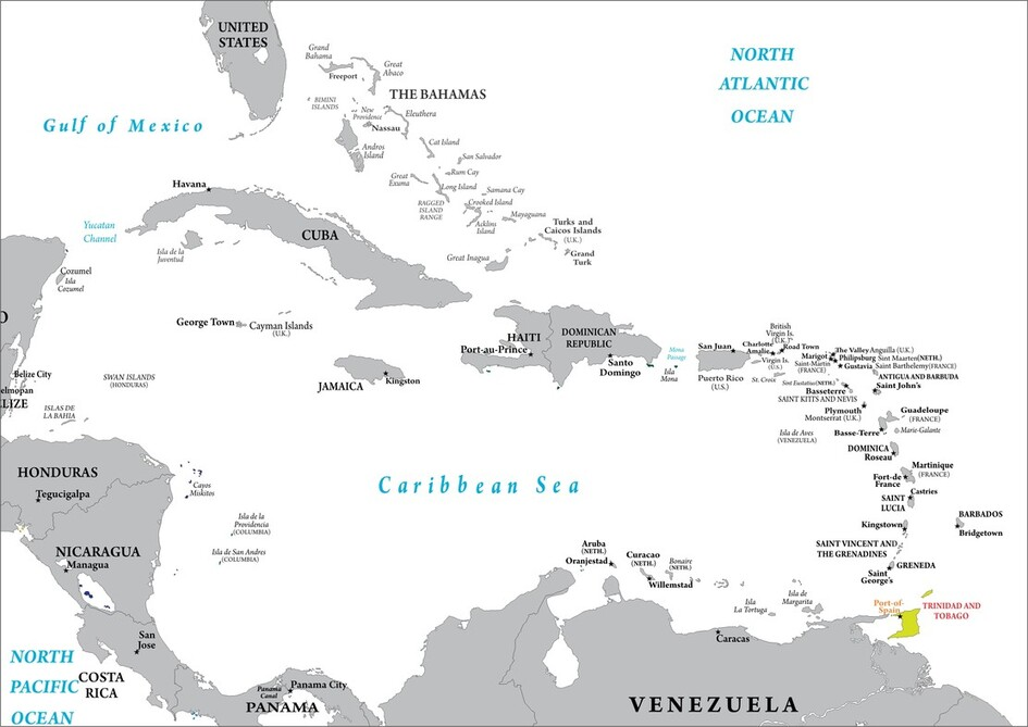 Trinidad and Tobago map location in the Caribean