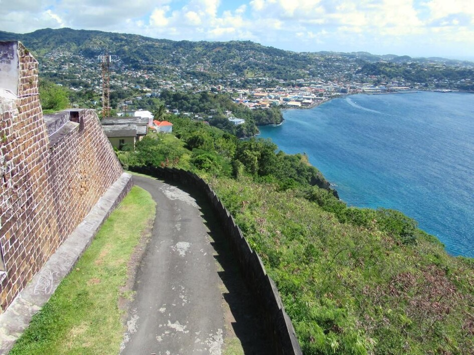 Fort Charlotte on Berkshire Hill offers spectacular views over Kingstown and the bay