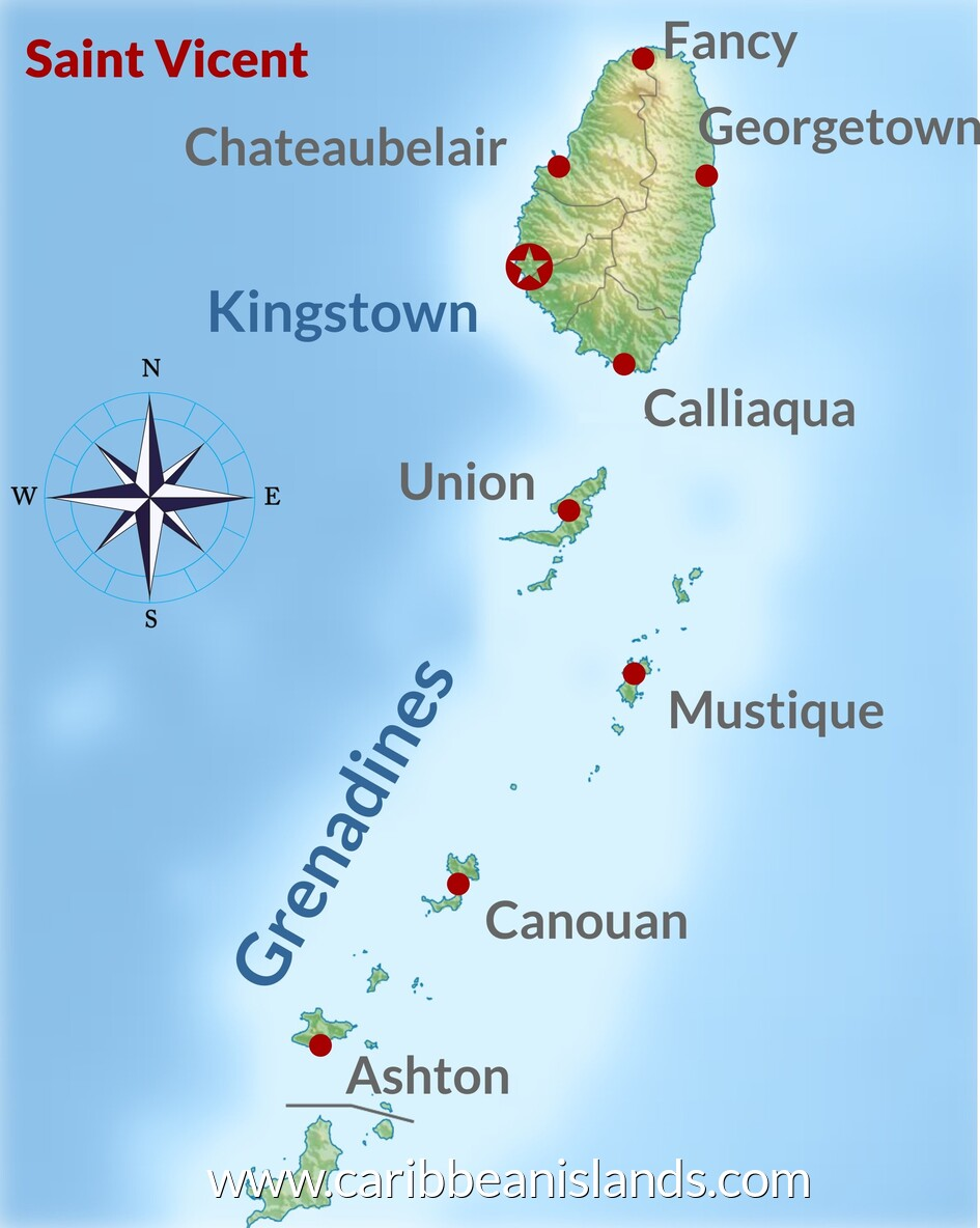 map of Saint Vicent & the Grenadines