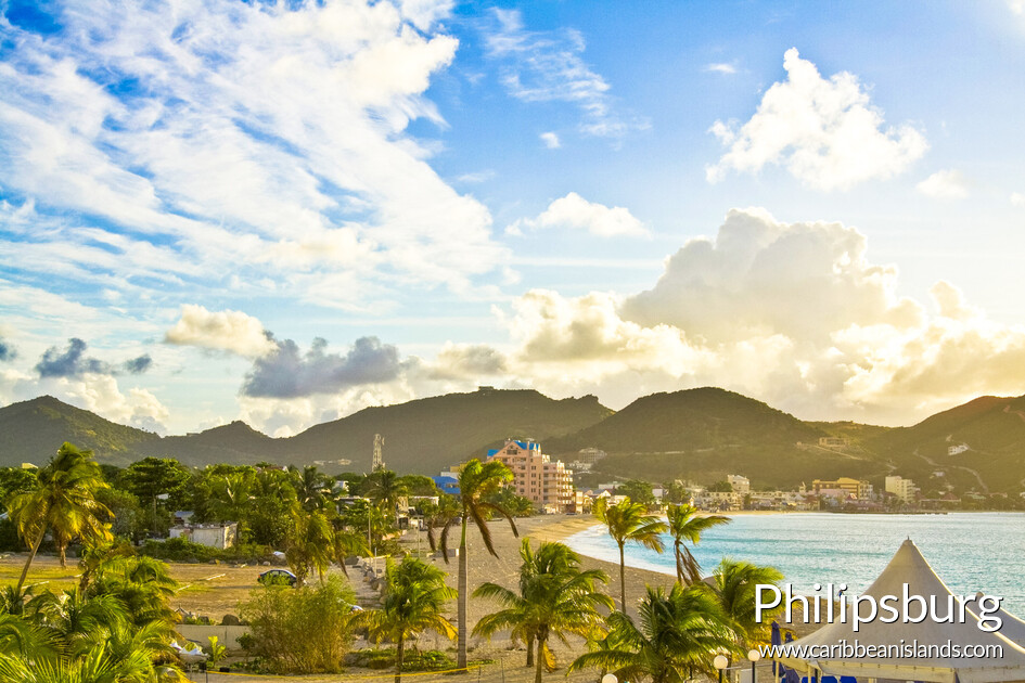View of the bay in Philipsburg, capital of the dutch south side of the island of Saint Maarten in the Caribbean
