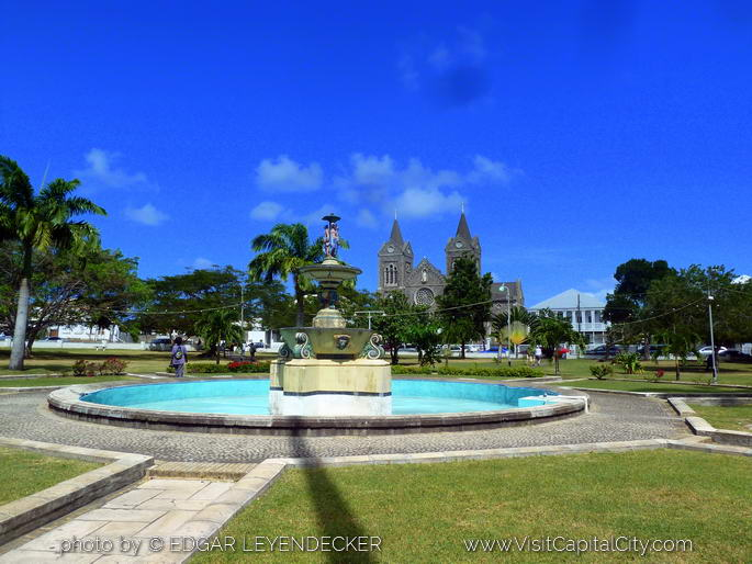 Independence Square and Immaculate Conception Co Cathedral Basseterre