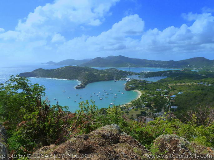 View from Shirley Heights, English Harbor, Falmouth Harbor, Galleo Beach