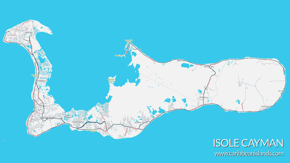 Mappa di Grand Cayman, Cayman Islands