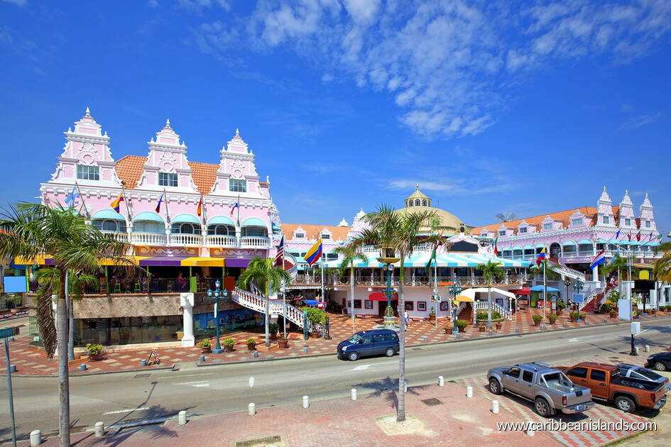 Kunglig plaza shopping i Aruba